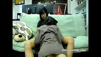young and horny japanese couple fucking in front.