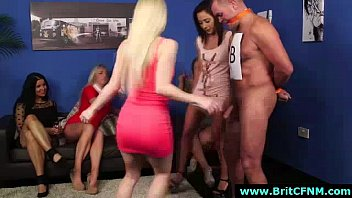 group of british cfnm babes at party, sucking cock