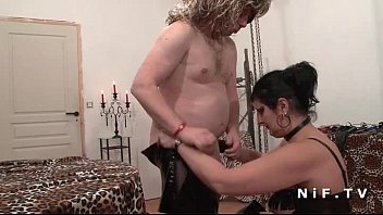 bbw mistress in leather licked by a man.