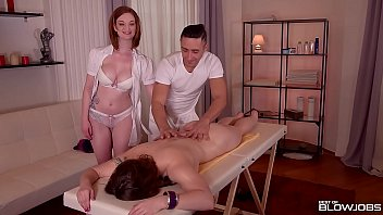 best blowjob at massage parlor with horny babes.