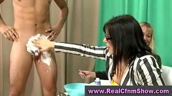 cfnm femdom cock teasing and shaving