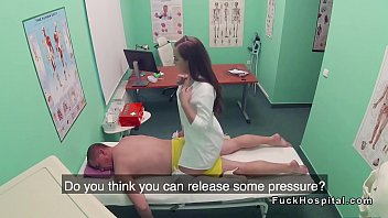 doctor gets massage from hot nurse
