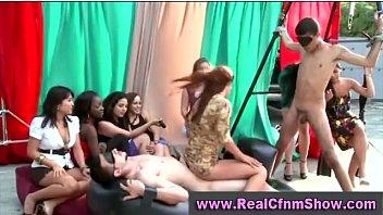 cfnm femdom group outdoor cock teasing