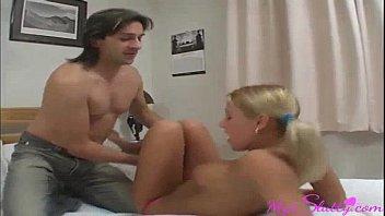 blonde babysitter helps the mr. to cum in.