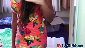 busty latina mercedes carrera changing clothes in recreation vehicle