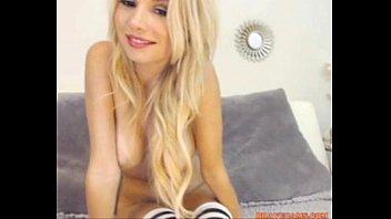 hot sexy blonde model fingers herself drinking wine.