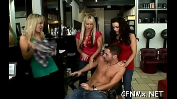 astounding cfnm act with a hot babe pleasuring.