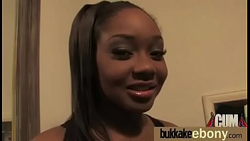 ebony babe sucks group of white.
