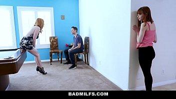 badmilfs - slutty mom fucks stepdaughter and her boyfriend