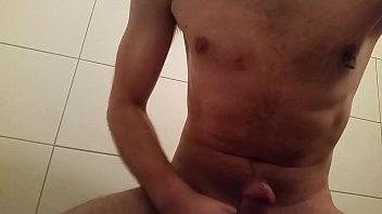 hot wanking in bathroom with huge.