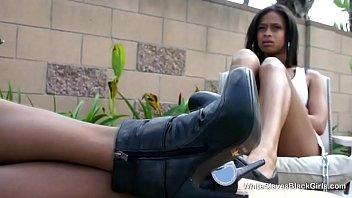 ebony babes use their slave a.