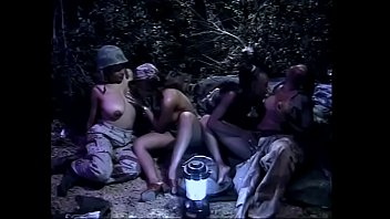 military lesbians in outdoors foursome in.