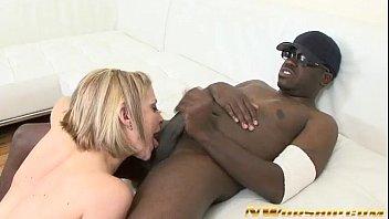 blonde milf sucks and fucks a big black.