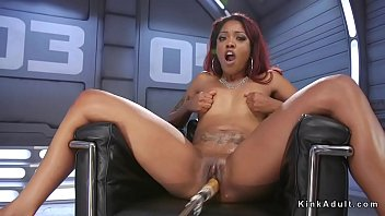 ebony fucks machine and squirts on.