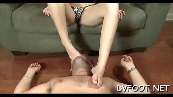 beauty slaps face with feet