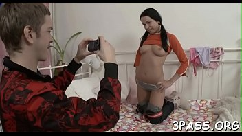 legal age teenager slim honey spreads legs and.