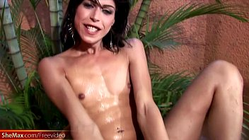 slim tranny is riding watermelon glory hole and.