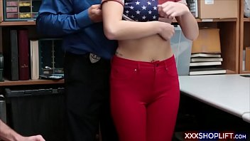 shoplifter cutie fucks with an officer while her.