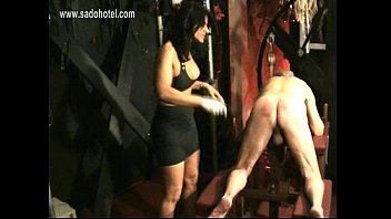 masked slave got spanked on his ass by.