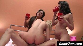 3 girls fuck guy while zipping.