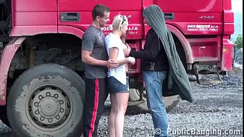 petite blonde hottie fucked public sex threesome by.