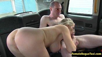 bossy busty fem cabbie jerksoff client.