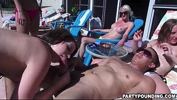 outdoor amateur poolside orgy