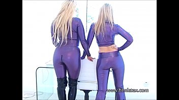 lesbian latex fetish babes intimate shiny rubber playing.