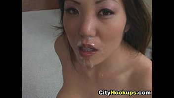 naughty asian loves cum on her.