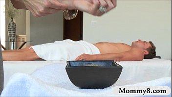 busty mature milf brandi love threesome on massage table