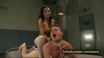 tranny fucks tied up guy with.
