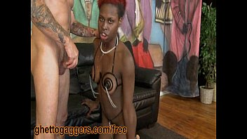 throated ebony slut slobs on white.