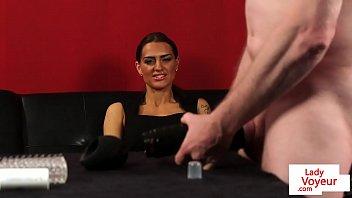 british voyeur instructs guys masturbation
