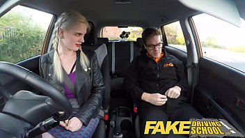 fake driving school big tits hairy pussy student.