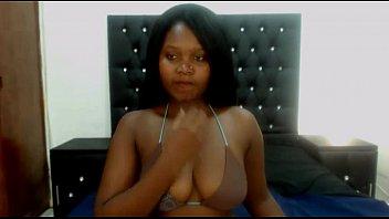 sexy ebony shows nice tits -.