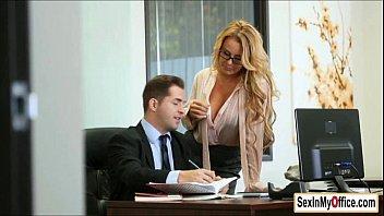 busty secretary corinna blake gives her boss and blowjob