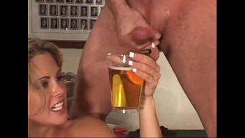 guys cum into beer&#039_s glass and girl drink it