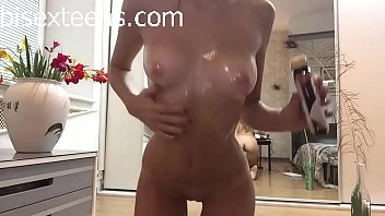 selfie solo whore uses lube to rub her.
