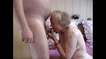 very old grandma having fun. amateur.