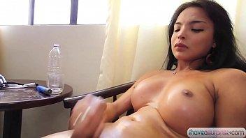 pretty kumiko rubs her cock