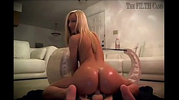sexy blonde teen solo ride oiled.