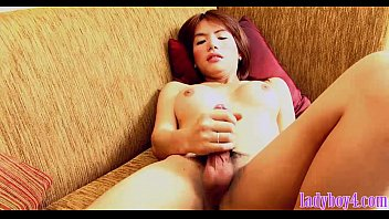 big tits ladyboy masturbates her small dick until cumming