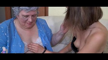 old busty granny playing with skinny.