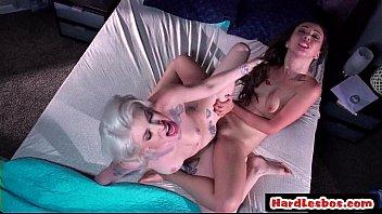 sexy horny big tit lesbians enjoy rough fuck.