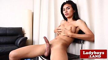 thai tranny loves jerking her fat.