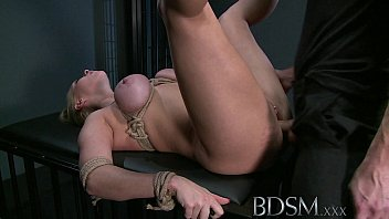 bdsm xxx blonde sub gets tied up and.