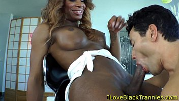 black shemale beauty gets a bj from white guy