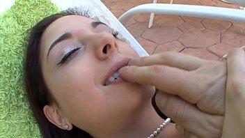petite brunette trinity st. clair plays with dildo.