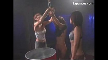 tied girls getting tortured drowned hitted with wet.