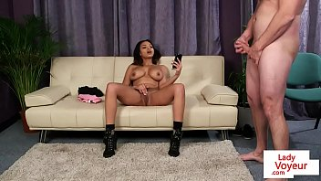 busty ebony femdom gives joi and.